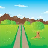 Road in mountains. Illustration of the road guiding to mountains Royalty Free Stock Image