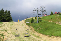 The road in the mountains. Ski lifts in the summer Stock Photos