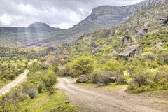 Road in the mountains. Crimea, a mountain landscape. Valley Demerdzhi - mountain pasture Stock Photo
