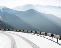Road in mountains. Road in the mountains in winter Stock Images