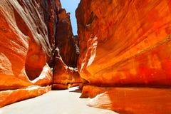 Road between mountains. Road in gorge between mountains. Petra, Jordan Stock Image