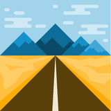 Road and mountains. Abstract illustration for use in design. Fla Royalty Free Stock Photography