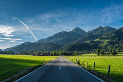 The road in mountains of Alps in Bavaria, Germany Stock Image
