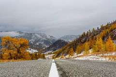 Road mountains asphalt autumn snow Stock Image