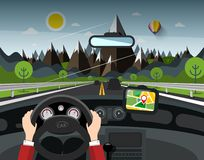 Road with Mountains on Background with Hands on Steering Wheel and GPS Navigation Cartoon. Road with Mountains on Background with Hands on Steering Wheel and GPS royalty free illustration