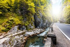Road in mountains. Bicaz Canyon in fall season. Potentially dangerous hairpin curve on a mountain road. Canyon is one of the most. Road in mountains, autumn royalty free stock images