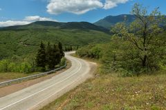 Road in the mountains of Crimean peninsula. Road in the mountains of the Crimean peninsula royalty free stock image