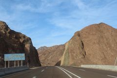 Road in the mountains of Dahab. Egypt royalty free stock photography