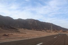 Road in the mountains of Dahab. Egypt Royalty Free Stock Images