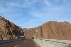 Road in the mountains of Dahab. Egypt Stock Photo