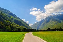 Road and mountains. In Europe Royalty Free Stock Photo