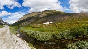 Road in the mountains of Khibiny, Kola Peninsula, Russia.  Royalty Free Stock Images