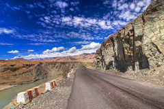 Road, Mountains of Leh, Ladakh, Jammu and Kashmir, India Royalty Free Stock Image