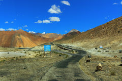 Road and Mountains of Leh, Ladakh, Jammu and Kashmir, India Royalty Free Stock Photo
