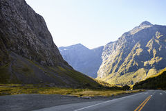 Road Through Mountains Near Milford Sound In New Zealand Royalty Free Stock Image