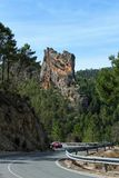 Road between mountains and pine forests in Sierra del Segura, Albacete. Spain Royalty Free Stock Photography
