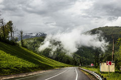 Road in the mountains in the rain in Sochi. Road in the mountains in the rain Royalty Free Stock Photography