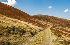 Road through mountains with reddish hills. Beautiful September weather Royalty Free Stock Photo