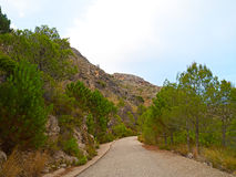 A road in the mountains in the rural area of Valencia, Spain. Stock Photos