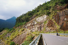The road in mountains. (serpentine) against the sky Royalty Free Stock Photos
