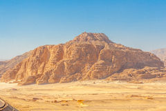 Road and Mountains in the Sinai desert Royalty Free Stock Image