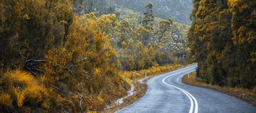Road and mountains in the Tasmanian countryside Royalty Free Stock Photo