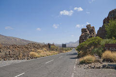Road in the mountains of Tenerife. Road on caldera of Teide, Tenerife island, Spain Stock Photo