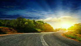 The road in the mountains . Royalty Free Stock Photography