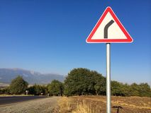 The road between mountains, turn right Stock Photography