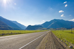 Road in mountains valley, Altai, Summer Royalty Free Stock Photo