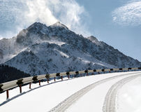 Road in mountains. Road in the mountains in winter Royalty Free Stock Photography