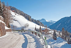 Road through the mountains in winter Royalty Free Stock Images