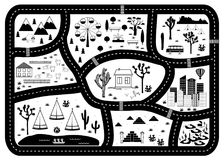 Road, Mountains and Woods Adventure Map. Kids play carpet. Or poster with native americans tribal elements. Trendy black and white Scandinavian Style. Vector royalty free illustration
