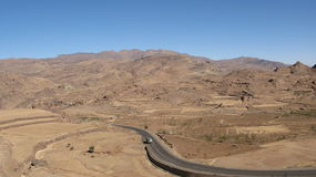 Road in the mountains of Yemen Royalty Free Stock Images