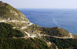 Road in mountains at Zakynthos island Royalty Free Stock Images