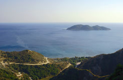 Road in mountains at Zakynthos island Royalty Free Stock Photos