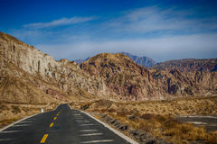 The road through mountains in Zhangye Royalty Free Stock Images