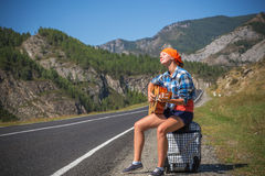 On the road with music Stock Image