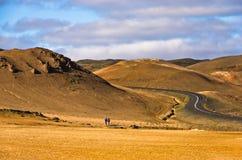 Road through Namafjall geothermal area east of lake Myvatn Royalty Free Stock Photos