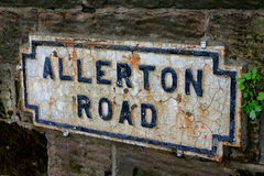 Road name in Liverpool. A board with Allerton Road  in Liverpool Stock Photos