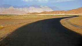 The  road through the Namib desert  in Namibia. Stock Images