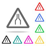Road Narrows on Both Sides Ahead Sign icon. Elements in multi colored icons for mobile concept and web apps. Icons for website des. Ign and development, app Stock Images