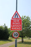 Road narrows and new road layout signs Stock Images