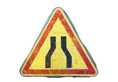 Road narrows sign Stock Photography