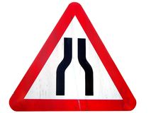 Road Narrows Sign Stock Photo