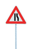 Road narrows sign on pole post, right side, large detailed isolated closeup, triangular traffic signage Royalty Free Stock Photo