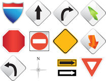 Road Navigation Icons. Set of road sign navigation icons Stock Images