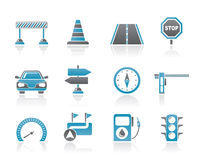 Road, navigation and traffic icons Stock Image