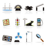 Road, navigation and travel icons stock illustration