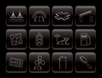 Road, navigation and travel icons Royalty Free Stock Photos